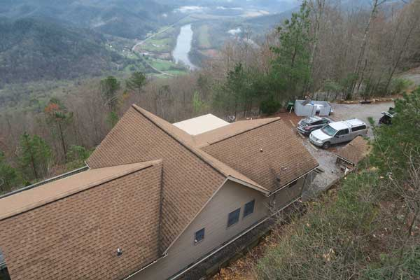 Knoxville Engineered Home Inspections Mountain Top Action shot with a drone